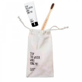 stop the water Oral Care Kit (Wooden Bamboo Tothbrush + Toothpaste + Mini Tote Bag Oral Care)
